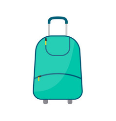 green wheeled travel bag with luggage vector image