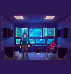 hacker in server room multiple computer monitors vector image