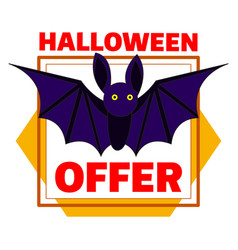 halloween bat offer logo cartoon style vector image