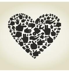 Hand heart vector
