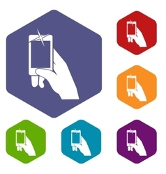 Hand taking pictures on cell phone icons set vector