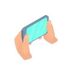 Hands holding mobile phone icon cartoon style vector