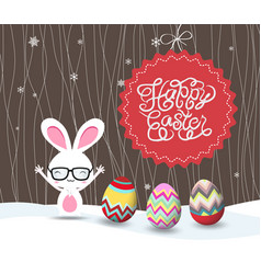 happy easter with bunny and eggs greeting card vector image