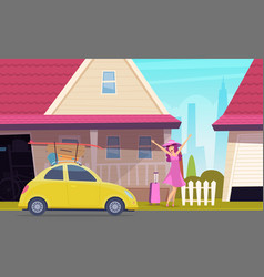 happy girl go to travel road trip young lady vector image