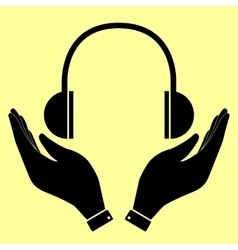 Headphones sign Flat style icon vector image