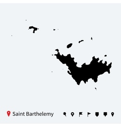High detailed map of Saint Barthelemy with pins vector image