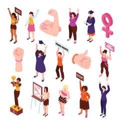 Isometric feminist characters set vector
