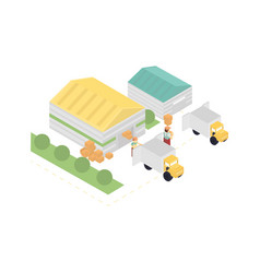 isometric warehouse building with truck vector image