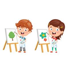 Kids making art vector