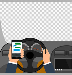 Man using smartphone while driving the car vector