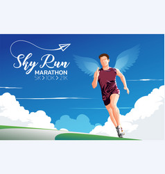 marathon sky run theme art vector image
