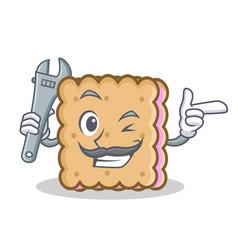 Mechanic biscuit cartoon character style vector