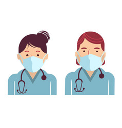Medical workers avatars doctors in masks vector