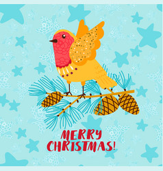 merry christmas greeting card with robin bird vector image
