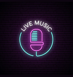 microphone neon sign live music bright emblem vector image