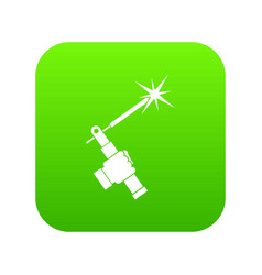Mig welding torch in hand icon digital green vector