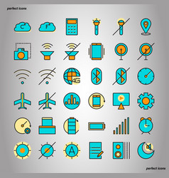 mobile function color line icons perfect pixel vector image