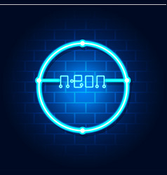 modern neon circle blue background image vector image
