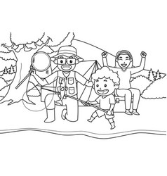 mom dad and son go fishing and camping vector image