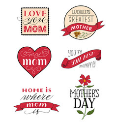 Mothers day festive congratulatory labels set vector