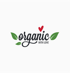 organic logo with heart and leafs on white vector image