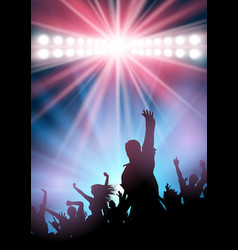 party crowd on spotlit background vector image