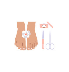 pedicure icons set design elements for nail vector image
