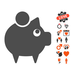 Piggy bank icon with lovely bonus vector