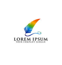 Quill logo with rainbow color logo design concept vector