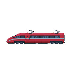 red modern railway locomotive train railroad vector image