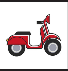 red small scooter vector image