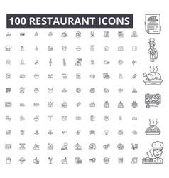restaurant editable line icons 100 set vector image