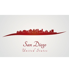 San Diego skyline in red vector image