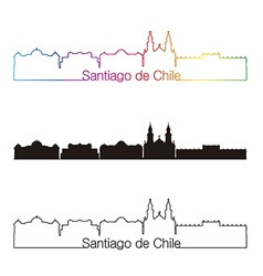 santiago de chile skyline linear style vector image