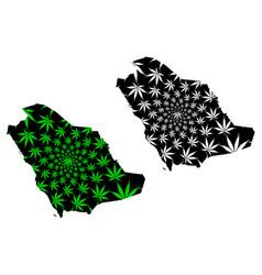 Saudi arabia - map is designed cannabis leaf vector