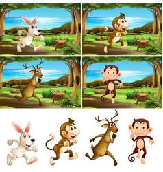 set animals running vector image