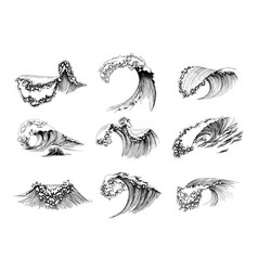 set hand drawn sea waves vector image