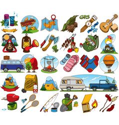 Set in the tourism theme travel logos vector