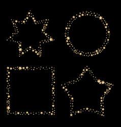 set of gold glitter frames star dust in vector image