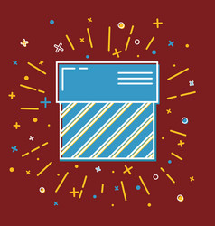 shining gift box icon with stripes in flat style vector image