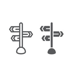 Signpost line and glyph icon direction and sign vector