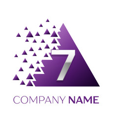 Silver number seven logo in purple pixel triangle vector