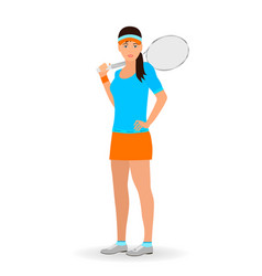 Sport people concept tennis woman with racket vector