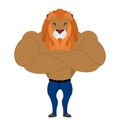 Strong Lion king of beasts Wild animal athlete vector