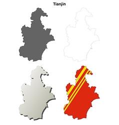Tianjin blank outline map set vector
