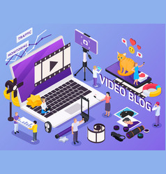 Video blog isometric composition vector