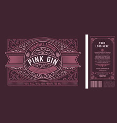Vintage gin label for packing back and front side vector