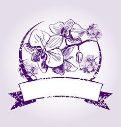 Vintage label with orchids vector image
