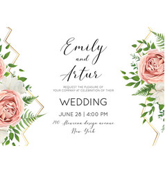 wedding floral modern invite invtation card design vector image