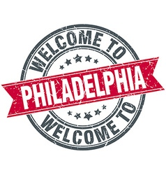 Welcome to Philadelphia red round vintage stamp vector